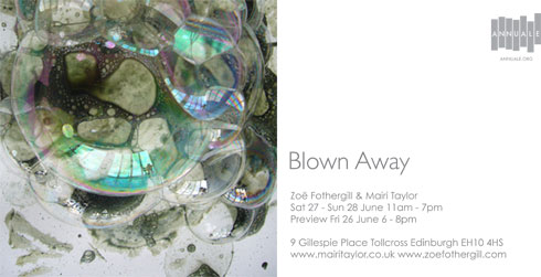 blown away invitation card bubble image and text